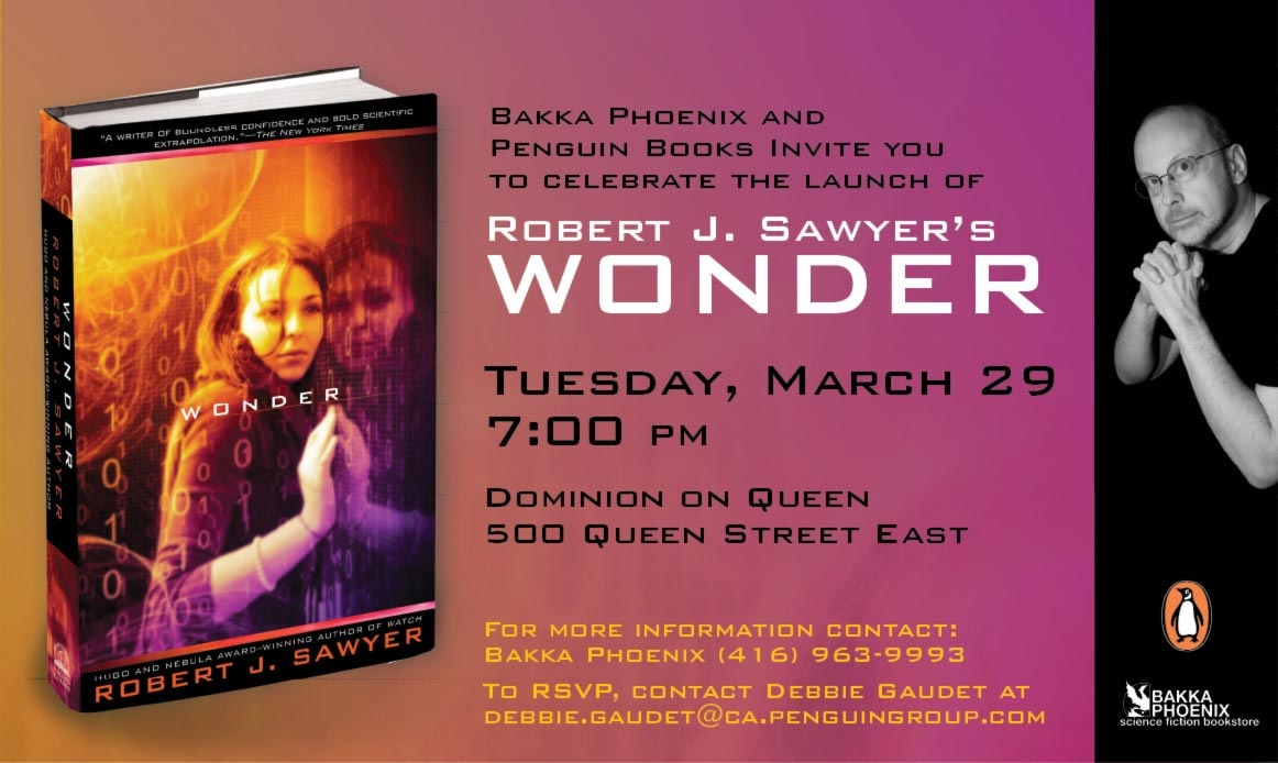 Robert J. Sawyer » Blog Archive » Toronto launch party for Wonder ...