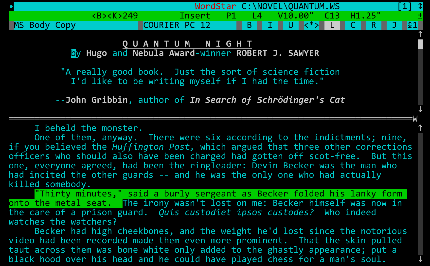 science fiction writer robert j sawyer wordstar a writer s word wordstar under vdosplus many science fiction